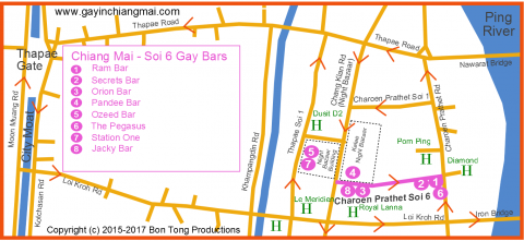 LGBT Gay Guide map to Chiang Mai Night Bazaar