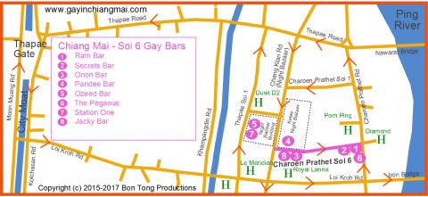 Chiang Mai Night Bazaar Gay Map August 2017