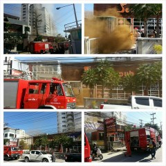 Fire at See Man Pub Chiang Mai (Pictures Chiang Mai Traffic police)