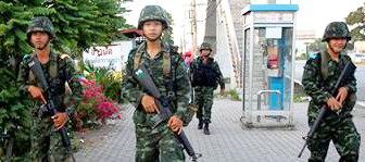 Thai Soldiers on street patrol