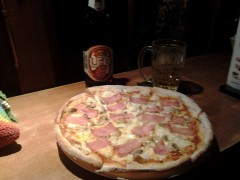 Pizza with Leo Beer at Radchada Gardden Café