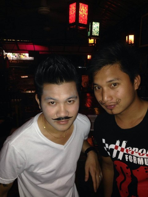 cute boys with mustaches at Soho Bar