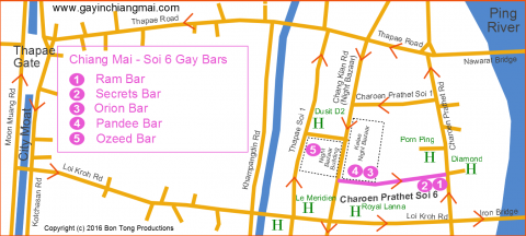 Chiang Mai Night Bazaar Gay Soi 6 Map August 2016