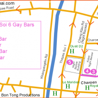 Chiang Mai Gay Soi 6 - Bar location Map February 2017