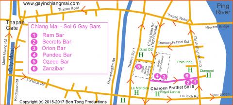 Chiang Mai Gay Soi 6 - Bar location Map February 2017