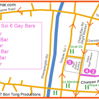 Gay Chiang Mai Night Bazaar and gay soi 6 map