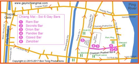 Gay Chiang Mai Night Bazaar and gay soi 6 map