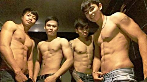 Sexy boys at new my way gay bar in Chiang Mai Thailand