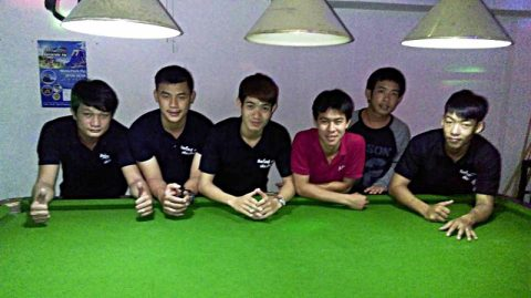 Moutain boys play pool at Secrets Gay bar in Chiang Mai