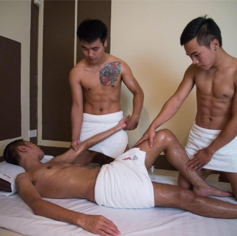 sexy semi naked gay massage boys at diamond house