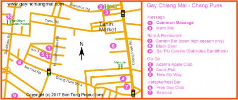 Chiang Mai Gay Map - Chang Puek and Santitham