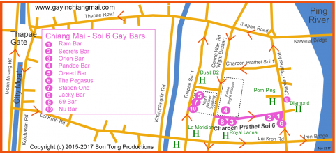 Gay Map of Chiang Mai Night Bazaar December 2017