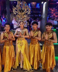 Ram Bar Show Chiang Mai - gay guys in gold dresses