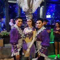 Ram Bar Show Chiang Mai - gay boys in purple costumes