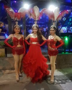 Ram Bar Show Chiang Mai - red costiumes with feathers