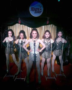 Ram Bar Show Chiang Mai gitls on stage in black and sequins