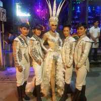 Ram Bar show Chiang Mai - gay boys in white costumes with sequins