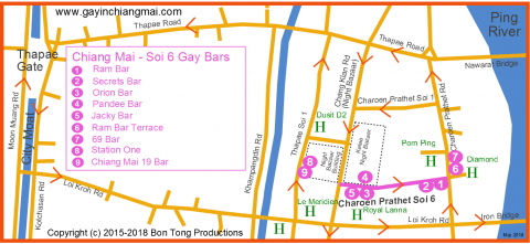 Chiang Mai Gay Soi 6 Map
