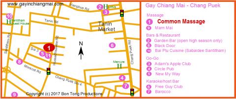 Gay Chiang Mai Map - Chang Puek Gay Venues - May 2018