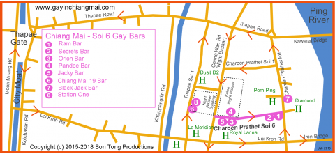 Gay Chiang Mai Night Bazaar map