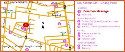 Chiang Mai Gay Map - Chang Puek district gay and LGBT venues