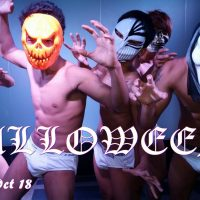 sexy halloween party with erotic boy show