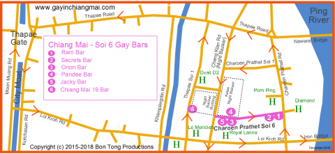 Gay Chiang Mai Map - Night Bazaar December 2018