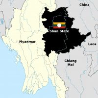 Shant State location map - Myanmar Thailand China Laos