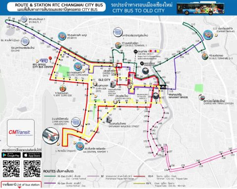 Chiang Mai's new bus routes - cmtransit map