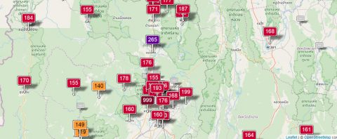 AQI Pollution levels in Northern Thailand March 2019