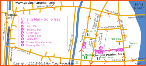 Map of gay bars at Chiang mai Night Bazaar