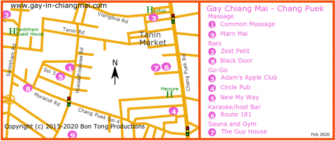 Chiang Mai Gay Map - Chang Puek and Santitham Feb 2020