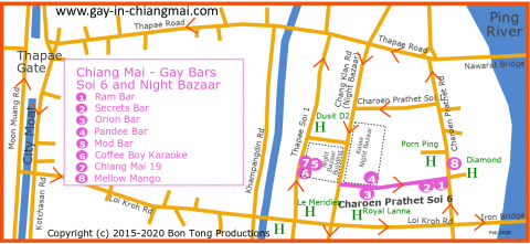 Chiang Mai Gay Map of Night Bazaar and Gay Soi 6 Bars - feb 2020